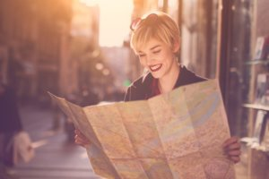 Girl looking at map